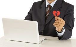 Brokenheart d'homme d'affaires aux achats d'Internet Photos libres de droits