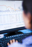 Broker examining stock drop Royalty Free Stock Photos