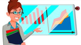 Broker Female Vector. Successful Stock-market Broker. Dynamics Of Financial Growth. Graphs, Indexes. Confident. Standing royalty free illustration