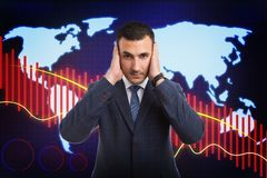 Broker holding hands on ears as not-hearing. Worried broker holding both hands on ears as not-hearing bad news or financial crisis concept on background with royalty free stock photography