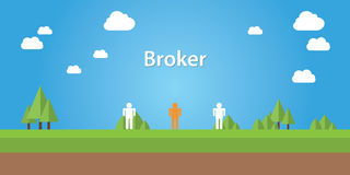 Broker illustration with sign  connection between two people Royalty Free Stock Image