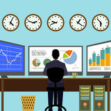 Broker sitting at workplace. Financial analysis. Graphs and charts on the monitor. Vector Image Stock Royalty Free Stock Photos