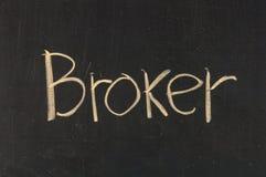 Broker symbols. Written on blackboard background high resolution Royalty Free Stock Images