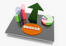 Broker on Tablet. Business internet and technology concept Stock Photography