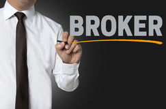 Broker is written by businessman background Stock Photography