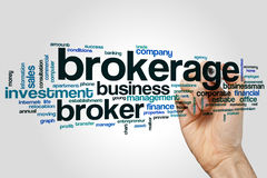 Brokerage word cloud. Concept on grey background royalty free stock photos