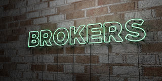 BROKERS - Glowing Neon Sign on stonework wall - 3D rendered royalty free stock illustration Stock Images