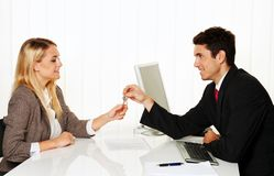 Brokers and tenants make rental agreement. T Ü Royalty Free Stock Images