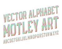 Brokig konstvektorstilsort Kulör lutningstilsort Isolerat engelskt alfabet Vektor Illustrationer