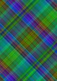 Brokig rutig bakgrund av skärande gröna och röda band för blått, Arkivbild