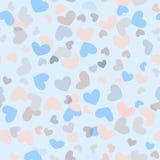 Brokig sömlös flickaktigt bakgrund med färgrika hjärtor vektor illustrationer