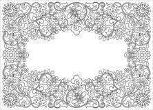 Brokig stiliserat retro härligt för gräsram svart-vit Royaltyfri Bild