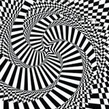 Brokigt visuellt hjälpmedel för vektorillustration och stjärna-formad svart vit för optisk illusion, vriden spiral Royaltyfri Bild