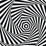Brokigt visuellt hjälpmedel för vektorillustration och stjärna-formad svart vit för optisk illusion, vriden spiral Arkivbild