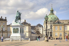 Brokkdorffa Palace and the statue of Frederick V Royalty Free Stock Photos