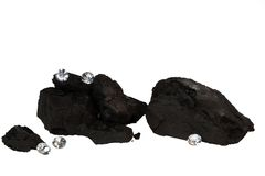 Brokken van Steenkool en Diamanten op Wit Stock Afbeelding