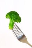 Brokkoli auf einer Gabel Stockfotos