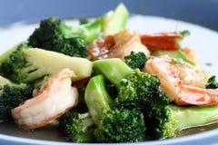 Brokkoli-Garnele gebraten Lizenzfreie Stockfotografie