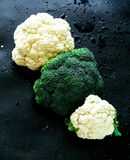 Brokkoli und Blumenkohle lizenzfreies stockbild