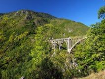 Brokonstruktion. Durdevica Tara bågbro i bergen, Royaltyfri Fotografi