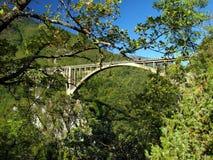 Brokonstruktion. Durdevica Tara bågbro i bergen, Royaltyfri Bild