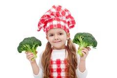 brokułów szef kuchni dziewczyny szczęśliwy mały Obrazy Stock