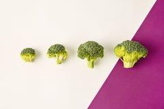 Brokuły na barwionym fiołkowym białym tle przekątna Sezonowi warzywa w nowożytnym stylowym projekta wzorze Zdjęcia Stock