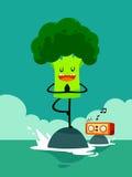 Brokuły robią joga drzewnej pozie ilustracji