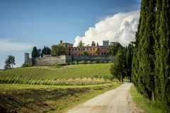 Castles and vineyards of Tuscany, Chianti wine region of Ital stock images