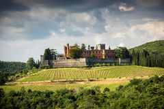 Castles and vineyards of Tuscany, Chianti wine region of Italy royalty free stock images