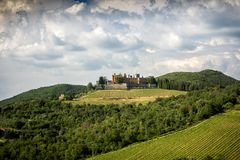 Castles and vineyards of Tuscany, Chianti wine region of Italy royalty free stock photography