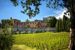 Brolio Castle and the nearby vineyards. The Castle is located in the production area of the famous Chianti Classico wine. Tuscany, royalty free stock photography