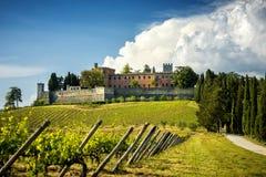 Brolio-Schloss und die nahe gelegenen Weinberge Das Schloss ist im Produktionsbereich des berühmten Chianti Classico-Weins Toskan stockbilder