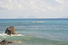 Brolo Strand, Messina, Sizilien Stockbild