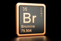 Bromine Br chemical element. 3D rendering. Bromine Br, chemical element. 3D rendering isolated on black background Stock Photo