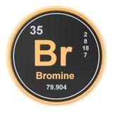 Bromine Br chemical element. 3D rendering vector illustration