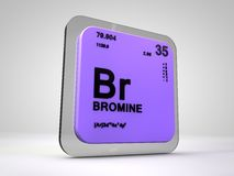 Bromine- Br - chemical element periodic table. 3d render Stock Photo