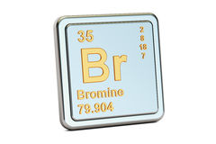 Bromine Br, chemical element sign. 3D rendering. Isolated on white background Royalty Free Stock Photos
