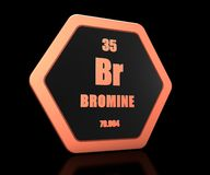 Bromine chemical element periodic table symbol 3d render stock illustration