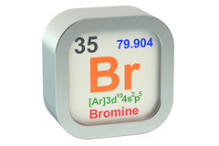 Bromine 3d. Bromine element symbol isolated on white background Royalty Free Stock Photography