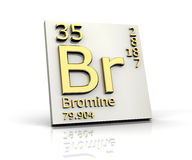 Bromine form Periodic Table of Elements. 3d made Royalty Free Stock Images