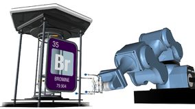 Bromine symbol in square shape with metallic edge in front of a mechanical arm that will hold a chemical container. 3D render. vector illustration