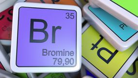 Bromine Br block on the pile of periodic table of the chemical elements blocks. Chemistry related 3D rendering. Bromine tag on the pile of periodic table of the Royalty Free Stock Photo