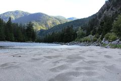 Bromley Rock Beach near Hedley BC. Beautiful Bromley Rock Beach near Hedley BC. An idyllic setting on the lovely Similkameen River featuring a white sand beach Royalty Free Stock Image