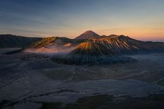 Bromo active volcano mountain landscape at sunrise, East Java, I. Ndonesia, Asia Royalty Free Stock Image