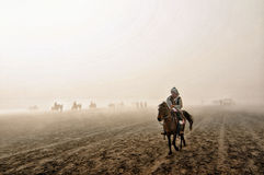 Bromo indonesia horse riding top of mountain cloud Stock Image