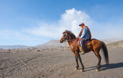 BROMO, INDONESIA - Sep 13: Unidentified workers wait horse rental for tourists at Mount Bromo on Sep 13, 2015 in Java, Indonesia. Stock Photos