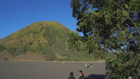 BROMO, INDONESIA - 16th JULY 2019: On a way to the Tenger caldera. View from a front seat on the Bromo volcano.