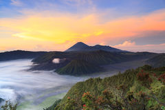 Bromo Mountain in Tengger Semeru National Park at sunrise Royalty Free Stock Photo