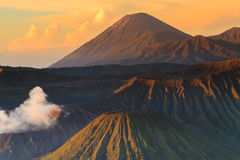 Bromo Mountain in Tengger Semeru National Park at sunrise Stock Photos